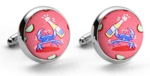 Drunken Crab: Cufflinks - Coral