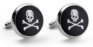 Skull & Crossbones Club Tie: Cufflinks - Black