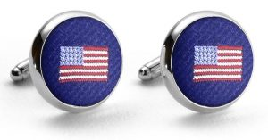 American Flag Club Tie: Cufflinks - Mid-Blue