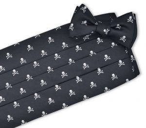 Skull & Crossbones Club Tie: Cummerbund - Black