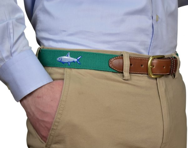 When Pigs Fly: Embroidered Belt - Light Blue
