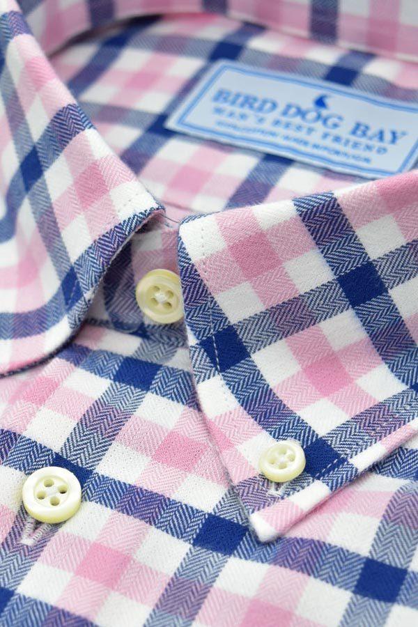 Linden: Brushed Cotton Shirt - Navy/Pink