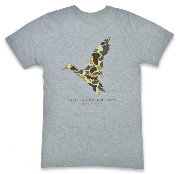 Camo Mallard: Short Sleeve T-Shirt - Gray
