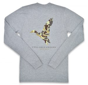 Camo Mallard: Long Sleeve T-Shirt - Gray