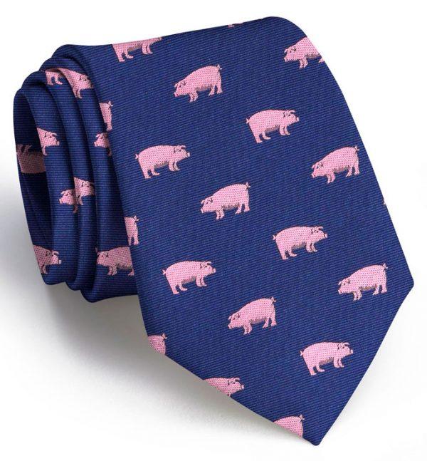 Pigs: Tie - Navy