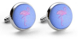 Flamingos: Cufflinks - Light Blue