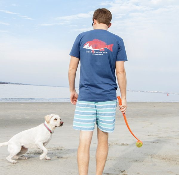 Good Boy: Short Sleeve T-Shirt - Yellow Lab on Steel Blue