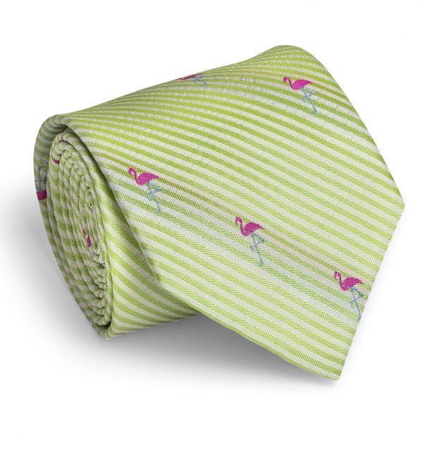 Flamingo Seersucker: Tie - Green/White