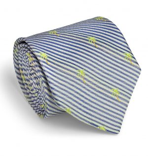 Palm Seersucker: Tie - Navy/White