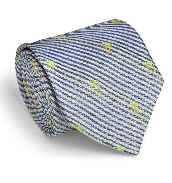 Palm Seersucker: Tie - Navy/White