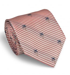 Palm Seersucker: Tie - Coral/White