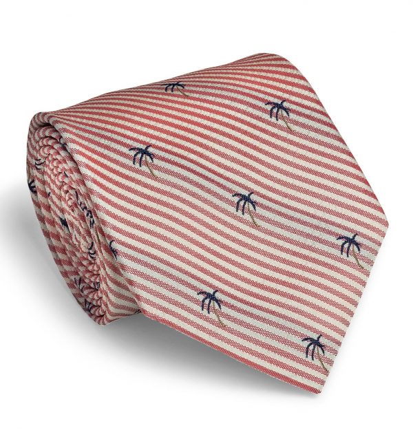 Palm Seersucker: Tie - Coral/White