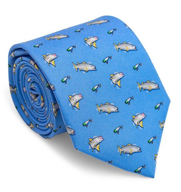 Hook, Line & Stripers: Tie - Blue