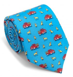 Dogs Love Trucks: Tie - Blue