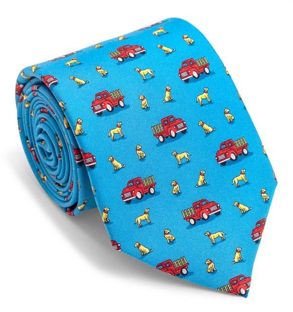 Dogs Love Trucks: Tie - Blue