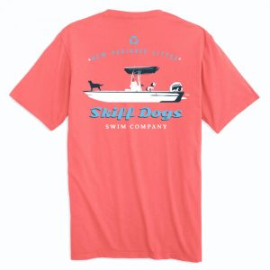 Skiff Dogs: Short Sleeve T-Shirt - Coral