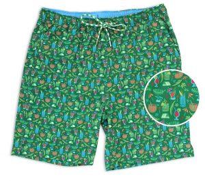 Tiki Happy Hour: Swim Trunks - Green