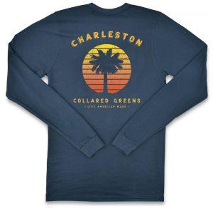 Vintage Sunset: Long Sleeve T-Shirt - Steel Blue