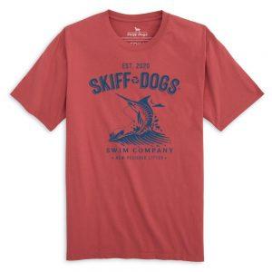 Marlin Mayhem: Front Print Short Sleeve T-Shirt - Port Side Red