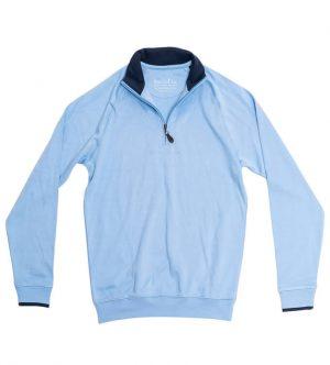 Pima Cotton Sweater: Quarter Zip - Carolina