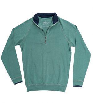 Pima Cotton Sweater: Quarter Zip - Sage