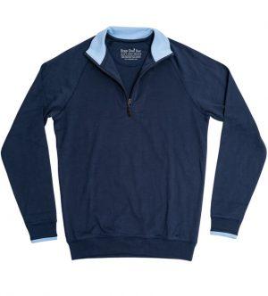 Pima Cotton Sweater: Quarter Zip - Navy